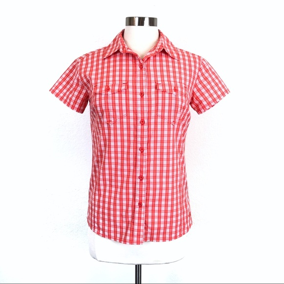 The North Face Tops - The North Face Orange Plaid Short Sleeve Button Up